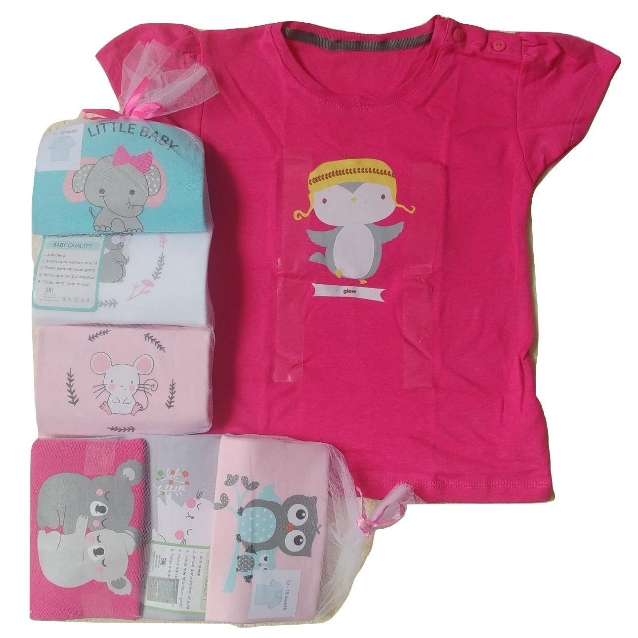 Jelova Angela 3pc  Kaos Oblong Fashion GIRLS Baby Bayi 1-2 Years - Mixmotif Random