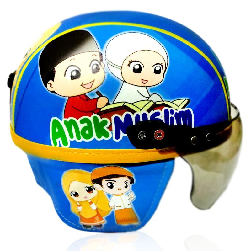 Helm Anak Premium Printing Lucu Model Chips / Klasik / Retro Anak Muslim 1-4 Tahun Biru