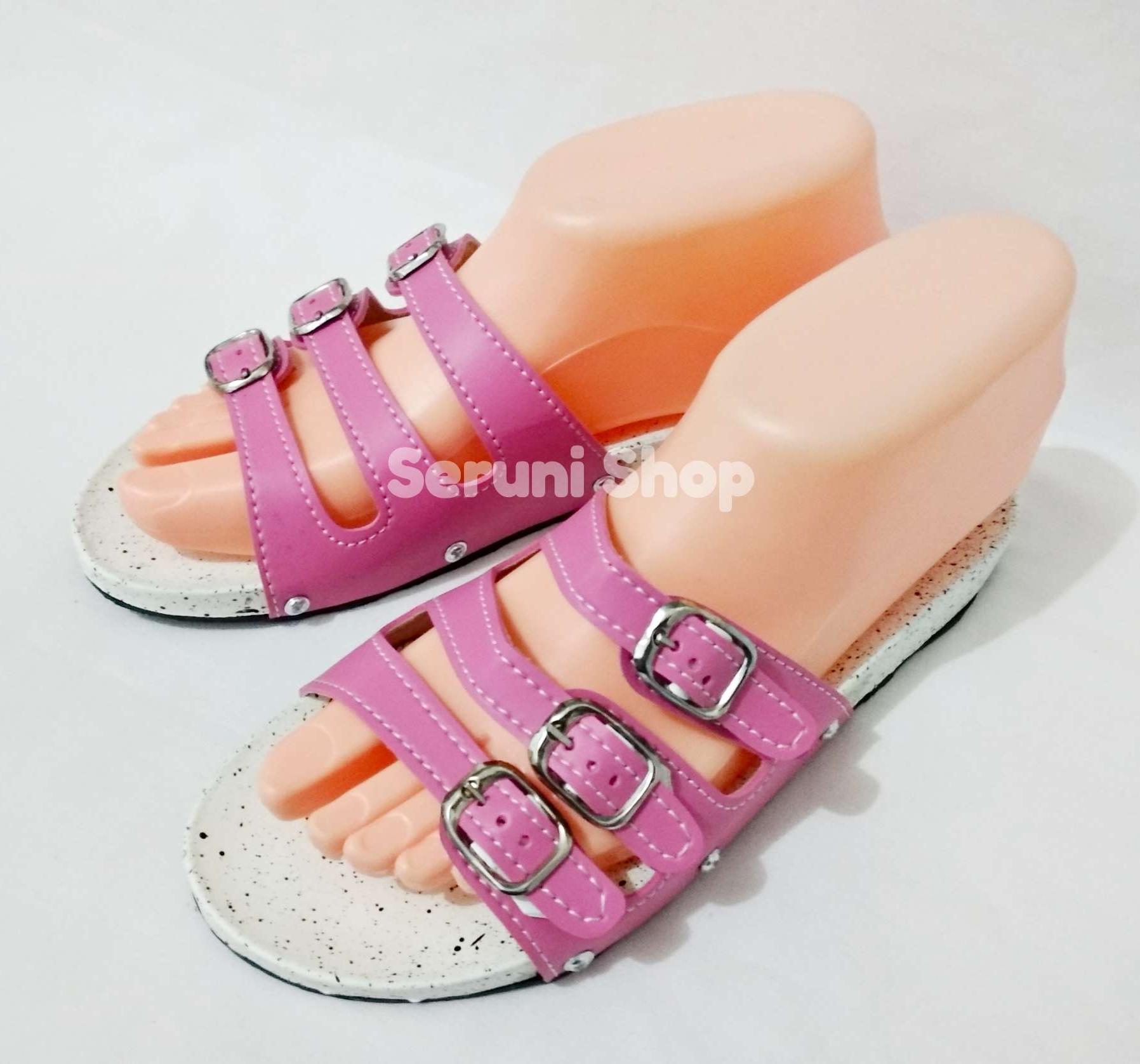 Seruni Flat Sandals Gesper 3 Tali Pink