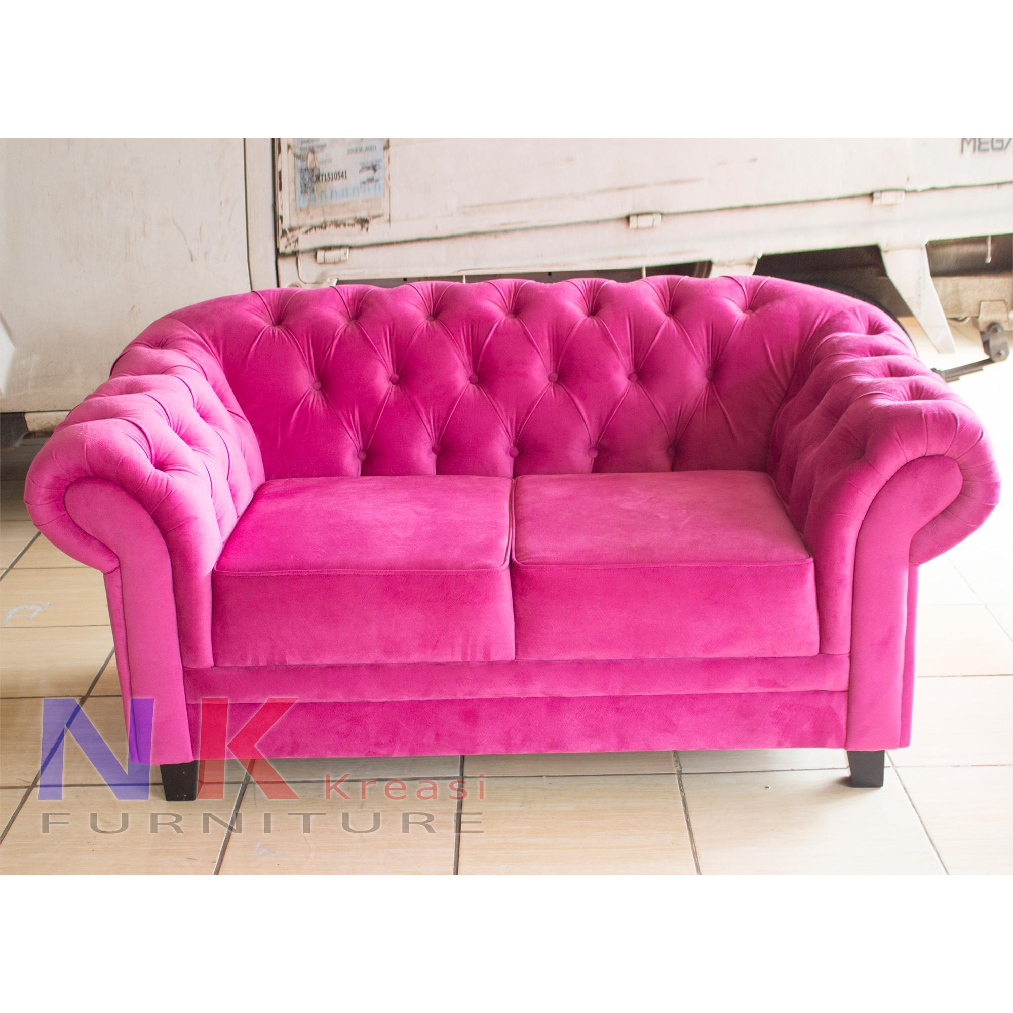 Sofa chesterfield 2 seater, kursi 2 dudukan mewah, klasik modern - JABODETABEK ONLY