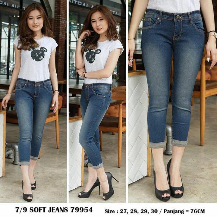 JHF - 7/9 Brown Washed - Jeans wanita - stik balik