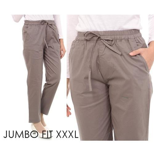 Celana baggy wanita jumbo basic katun street XXXL, celana panjang katun jumbo, celana kerja