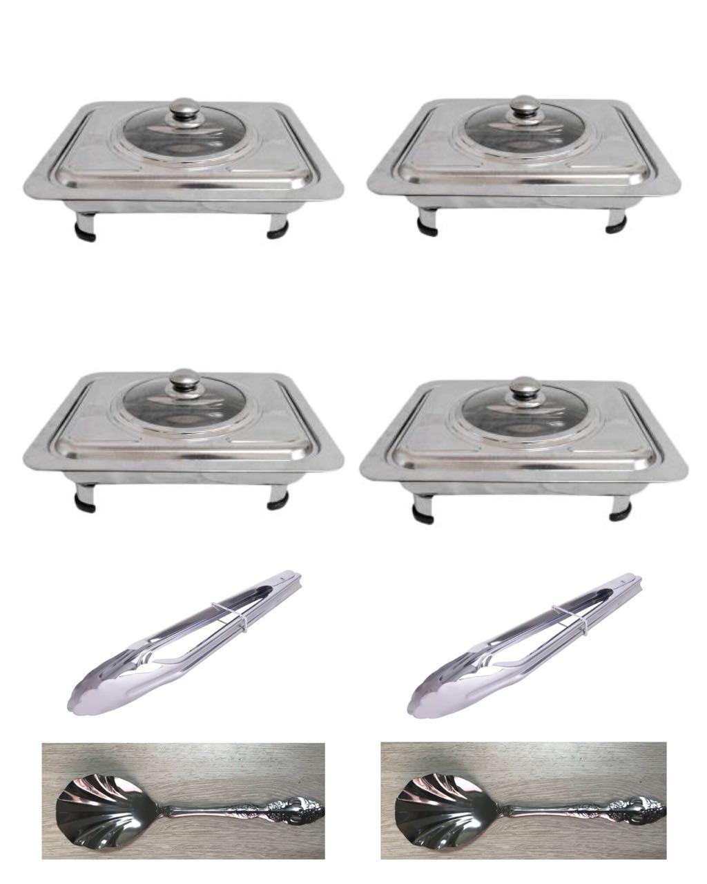 555 Wadah Saji Masakan - Prasmanan Set Isi 4 + Sendok Sayur 2 Pcs + Jepitan Makanan 2 Pcs By Maxi Store.