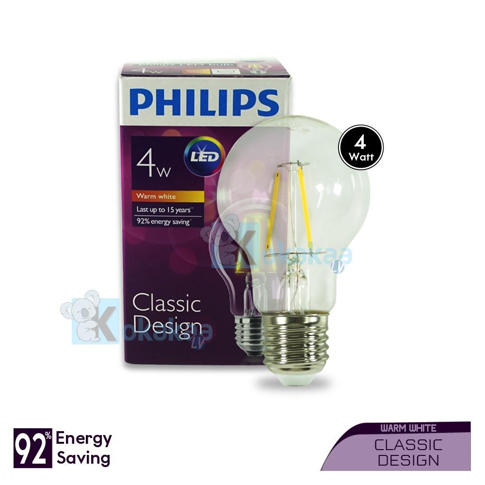 Philips Lampu LED Kecil 4 Watt A-60 E27 Dimmable Classic Design Hemat Energi Lampu Bohlam Cahaya Kuning
