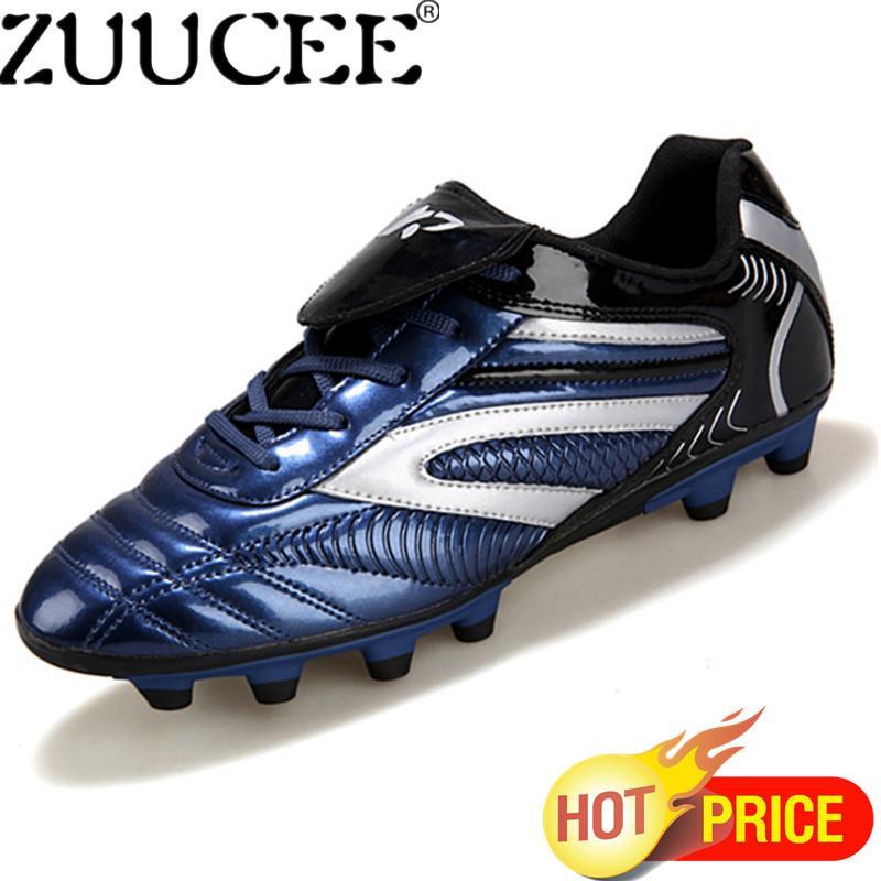 Zuucee Pria Modis Sepatu Sepak Bola Kuku Panjang Olahraga Sneakers (Biru Tua)-Internasional