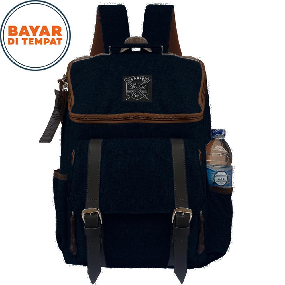 Tas Backpack Pria Wanita Kanvas Tas Ransel Lahiq 7202 Ransel Kuliah Korean Style Korean Bag Unisex Tas Cowok Tas Cewek New Design - Black