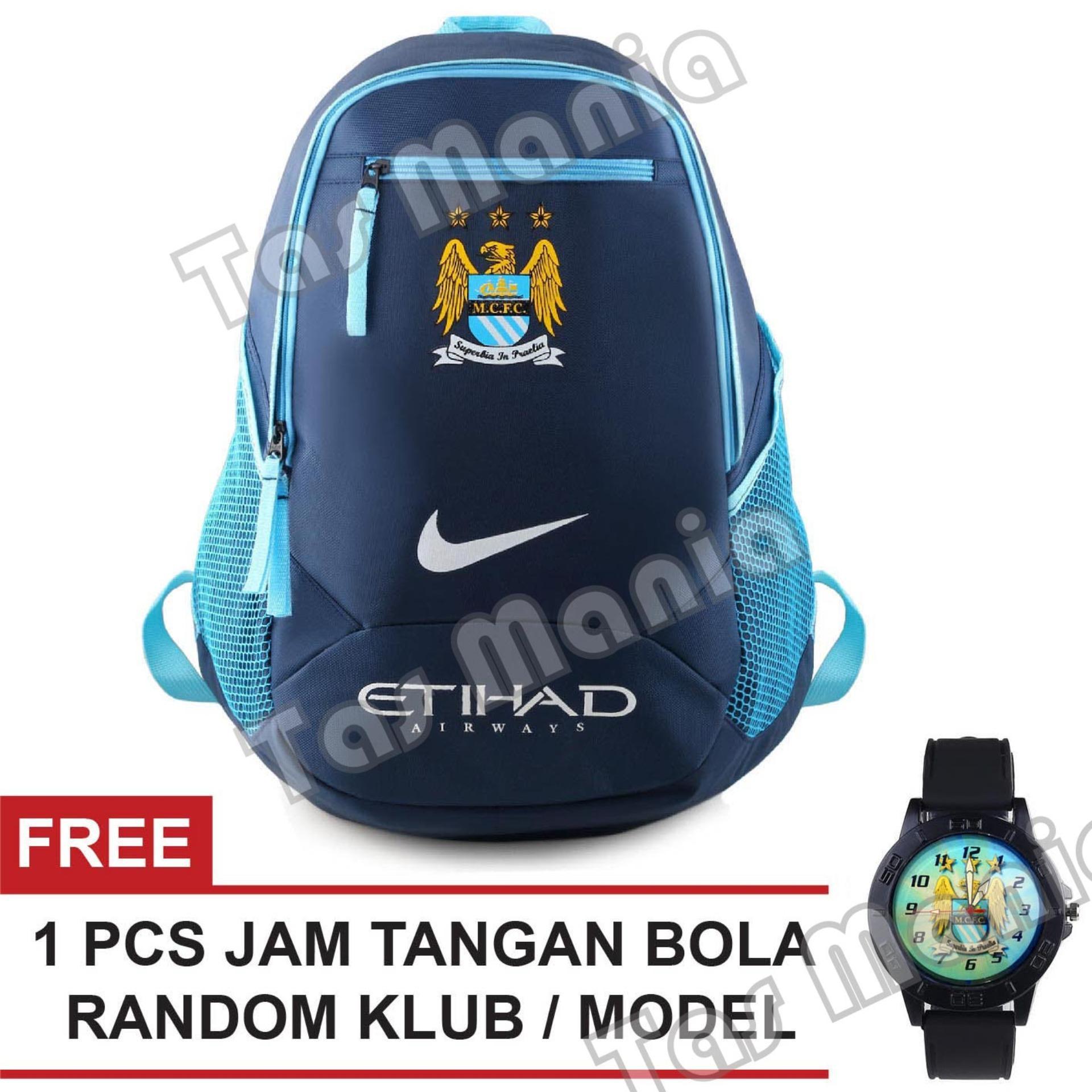Tas Ransel Nike Bola Pria The Citizens - Etihad Laptop Backpack Mens Soccer Editions - Blue + Raincover + FREE Jam Tangan Pria Random Color / Model