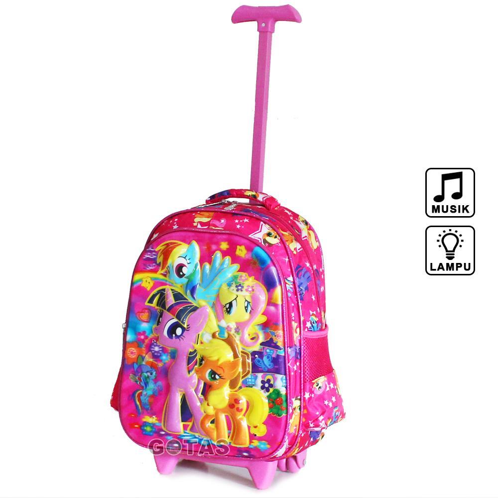 Tas Roda Troli Anak Sekolah Little Pony 7D Hologram 2 Kantong Lampu Music Trolley