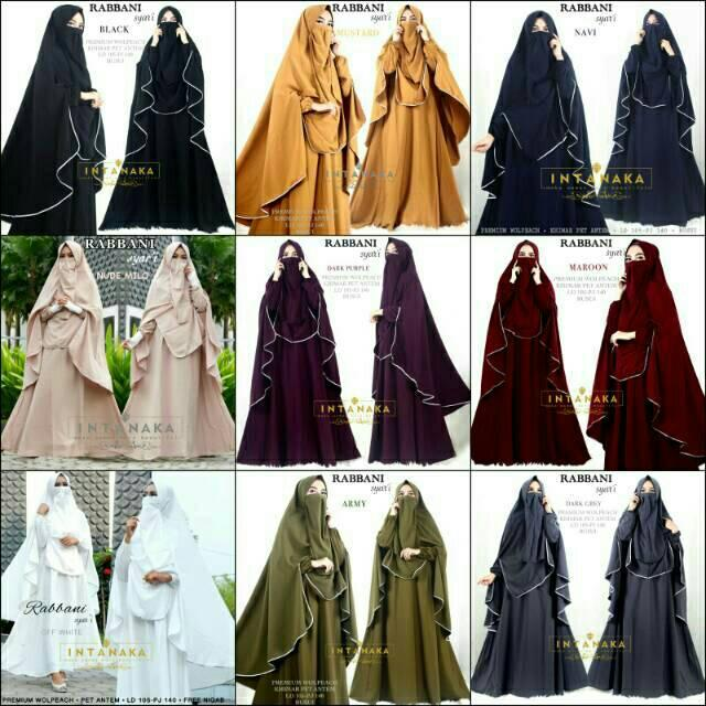 Gamis Rabbani Syari Ori Intanaka Longdress Maxi Wolpeach Dark Purple