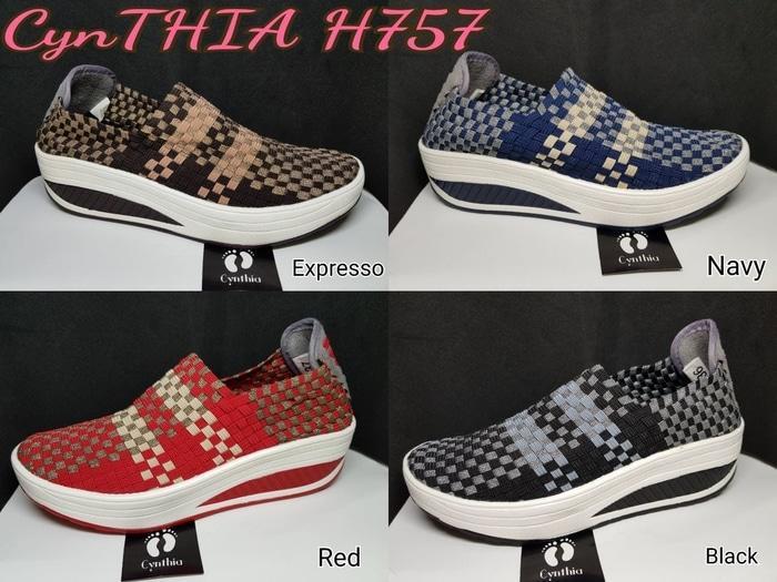 Sepatu Rajut Anyaman Wanita Cynthia Wedges H757 - Sepatu Sendal Wanita - Fashion Wanita kece -