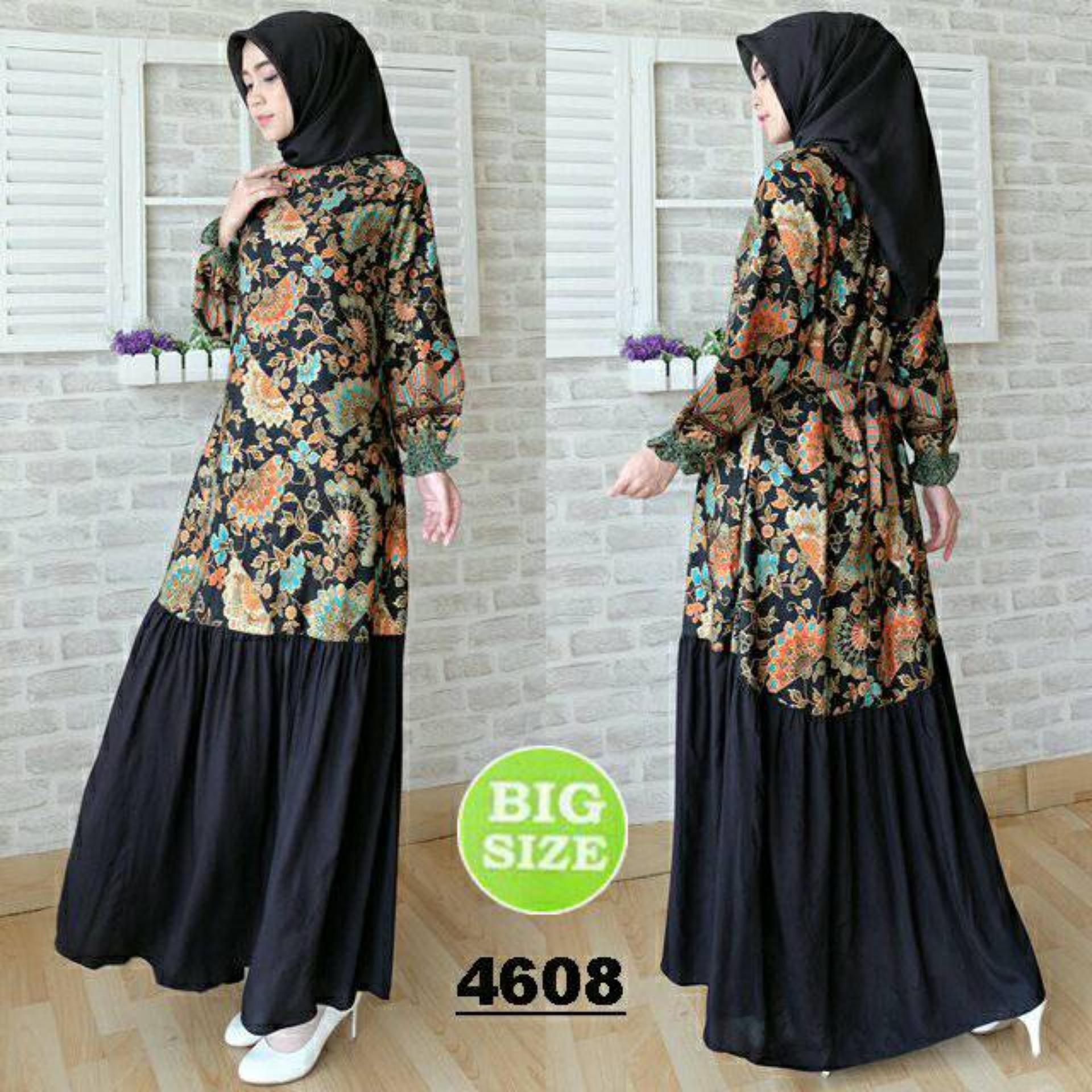 FASHION FLOWER-DRESS MAXI | MUSLIM WEAR | DRESS WANITA | BUSANA MUSLIM | FASHION WANITA | MUSLIM WEAR | PAKAIAN WANITA | BIG SIZE | DRESS MAXI WANITA BATIK NURIDA FIT XXL-BLACK (LD 110CM,PJG 138CM)