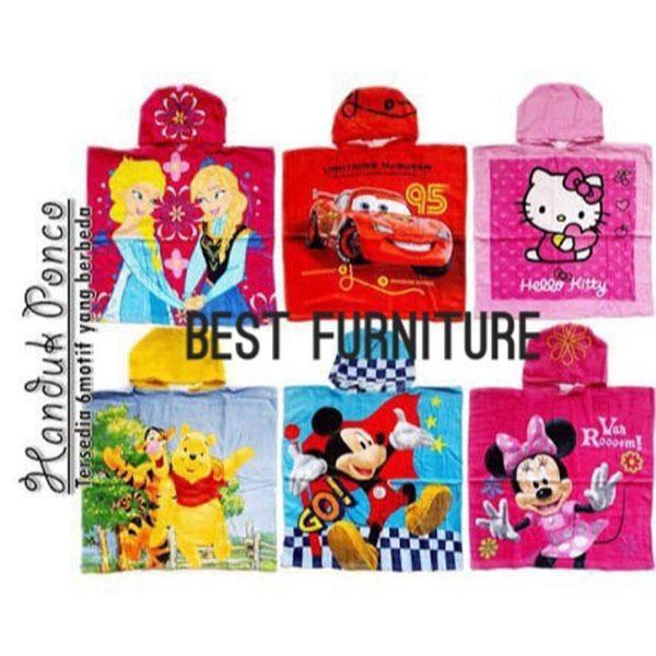 Best Furniture Handuk Ponco Handuk Topi Karakter Anak uk 60x60cm - Random
