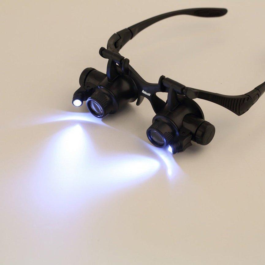 Ubest 4 Perbesaran Yang Berbeda 10X 15X 20X 25X Watch Repair Magnifier dengan 2 Lampu LED Kaca Pembesar-Intl