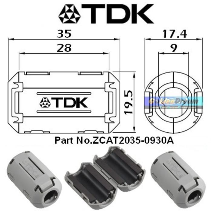 Magnet TDK Original Tipe ZCAT 2035 0930A Ferrite utk kabel busi coil injector delco audio diameter