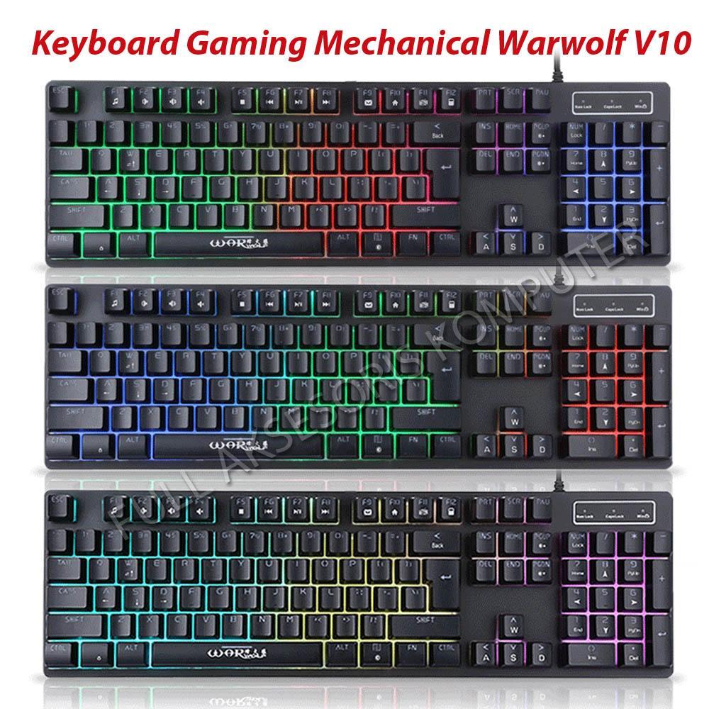 Jual Warwolf Perlengkapan Gaming Terlengkap Keybiard V10 Mechanical Keyboard Full Backlight Rgb Hitam