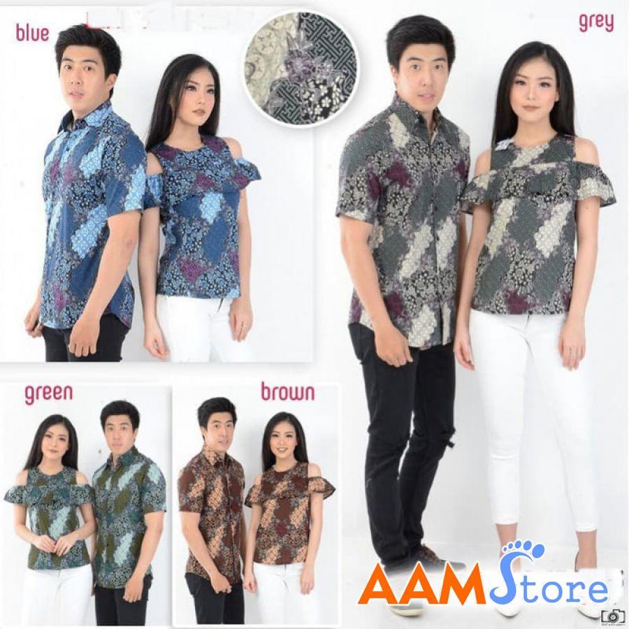 Dress Couple Pasangan Terbaru Batik Panca Sabrina / kapel blouse / Baju Kemeja etnik Grosir Unik