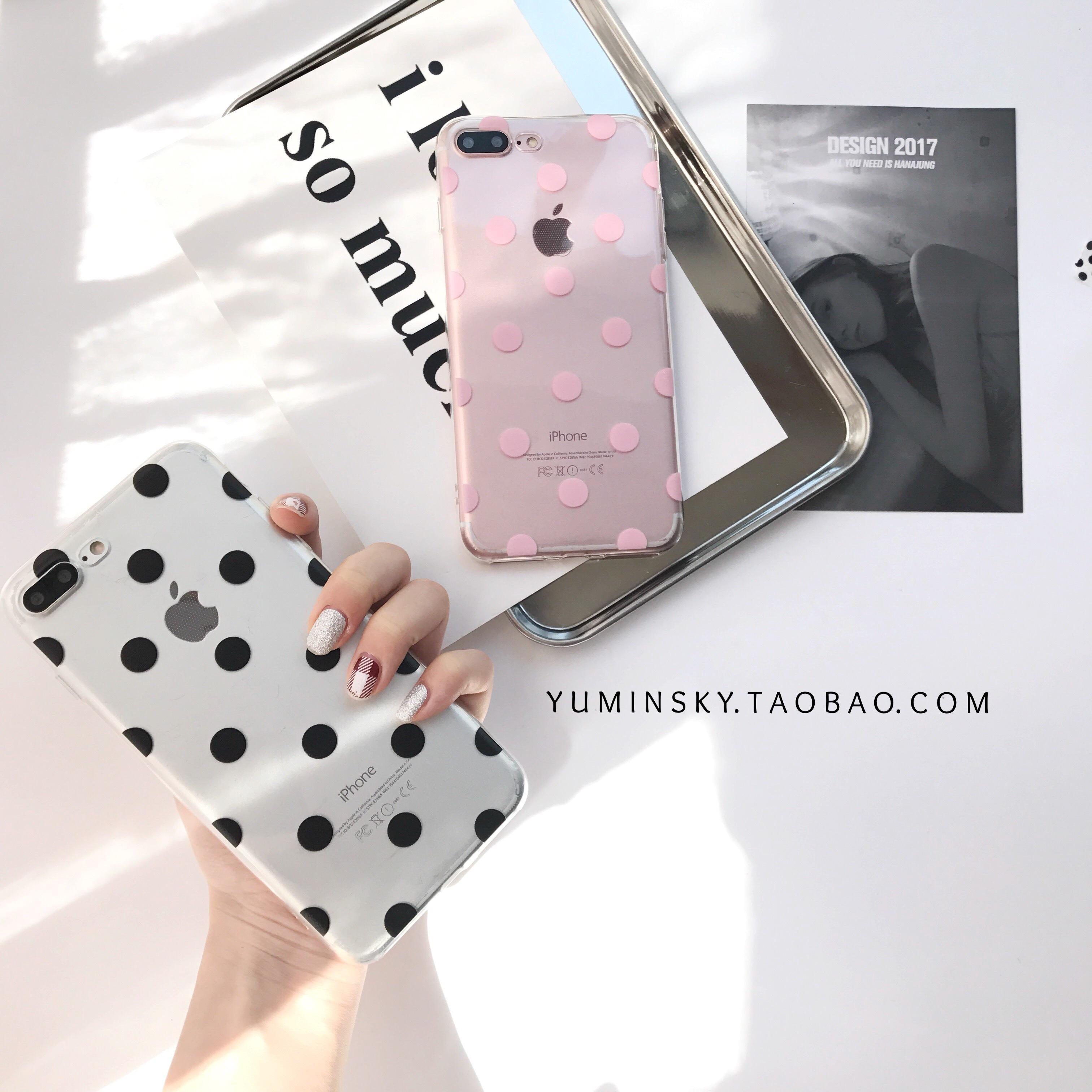 Gaya Korea Selubung Ponsel Hitam Polkadot Softcase Iphone6splus TPU Sangat Tipis