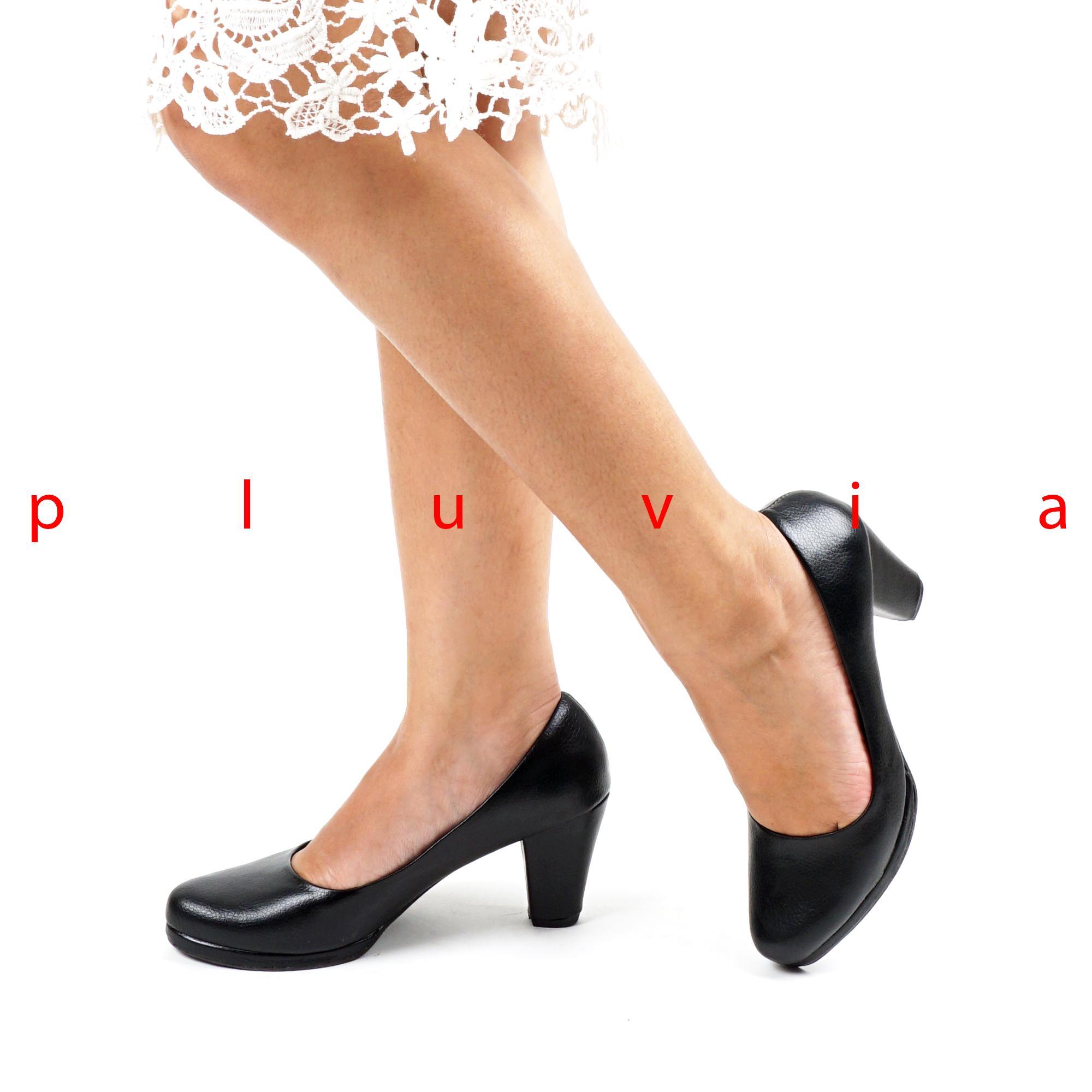 Pluvia - Sepatu Kerja Pantofel High Heels Wanita SD01 - Hitam