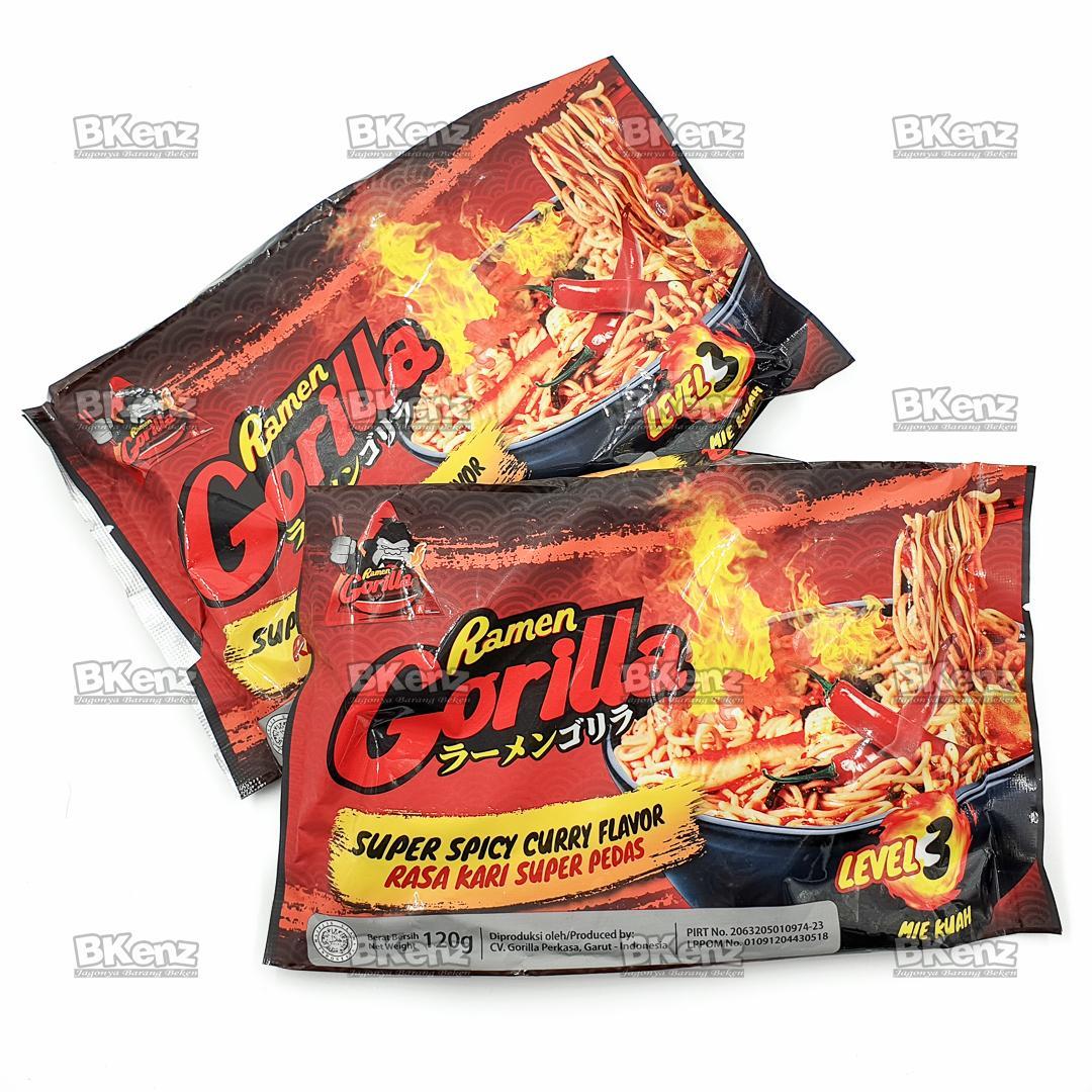 Ramen Gorilla Kari Super Pedas Super Spicy Instant Noodle Mie Instan Saingan Samyang Paket Isi 2 Level 3