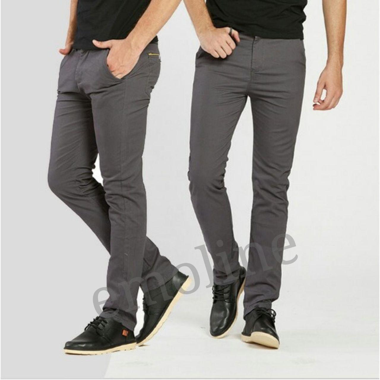 Celana Chino Formal Kasual Pria Lgs Slim Fit Kemeja Fashion Biru Muda Denim Polos S Panjang