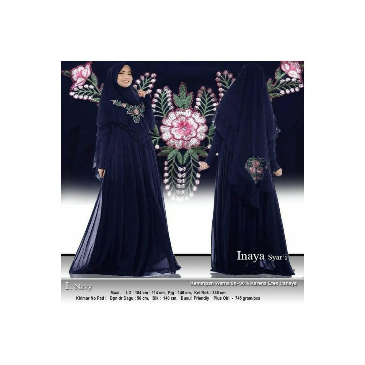 Baju Busana Muslim Gamis Maxy Wanita/Pakaian Maxy Bordir Inaya Navy