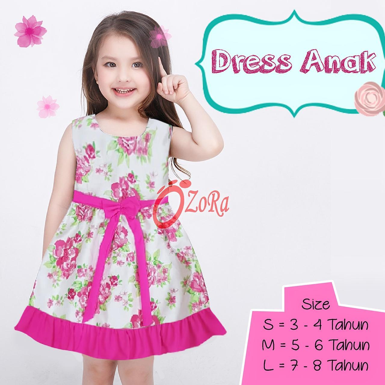 Ozora Dress Anak Perempuan 3-8 tahun Gaun Pesta Anak Wanita Polkadot Import Branded