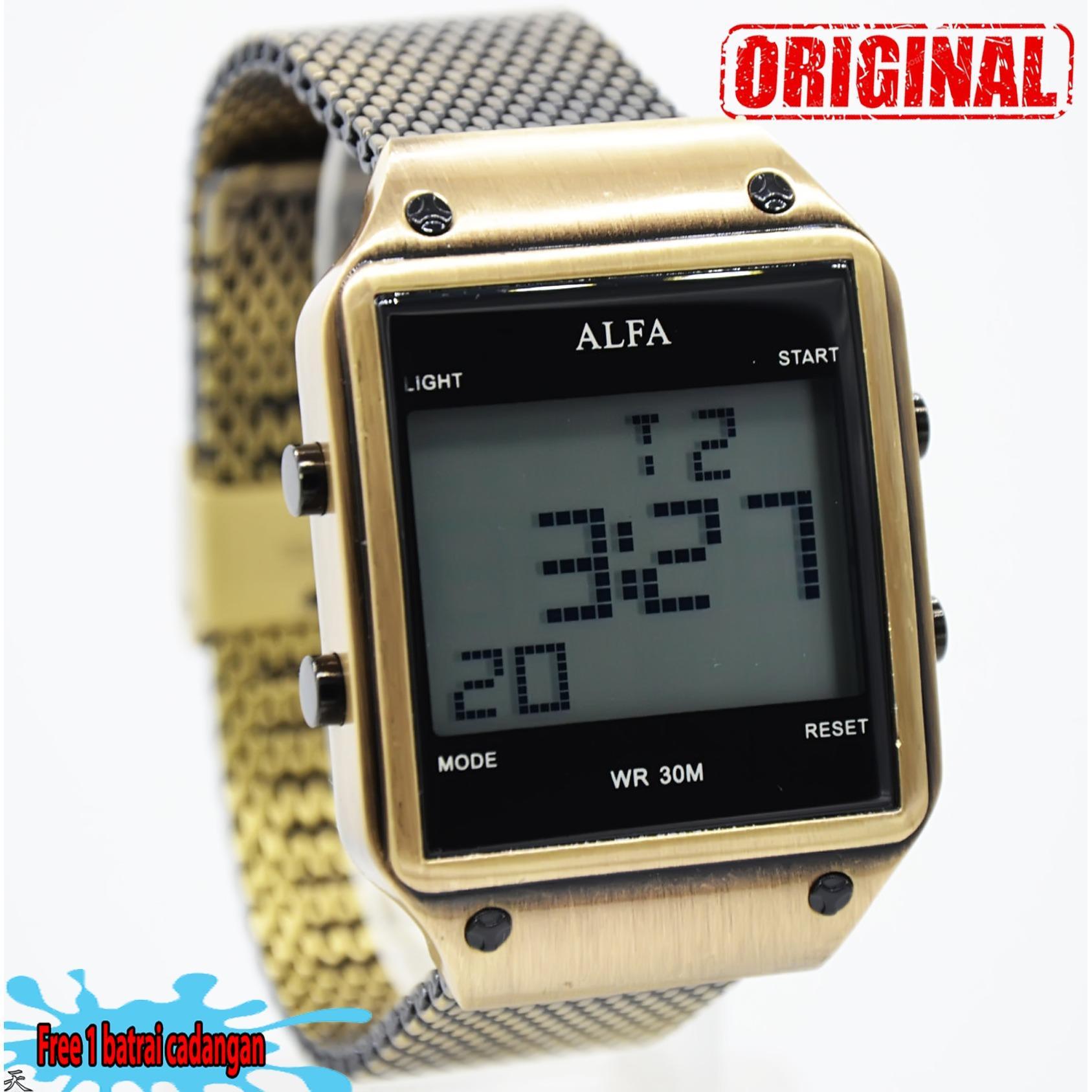 ALF571 Source Dial Source Alfa watch Slim ALF225 POS Jam Tangan Pria Strap Stainless Steel Hitam