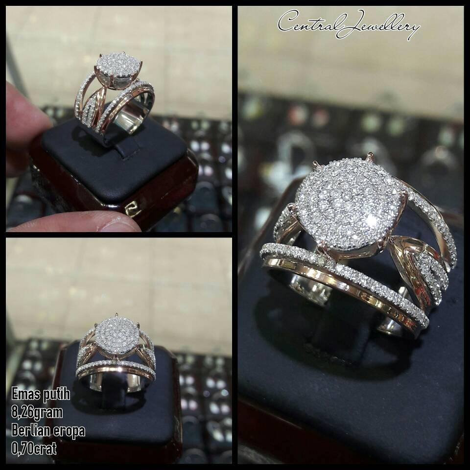 cincin emas putih berlian eropa model fhasion