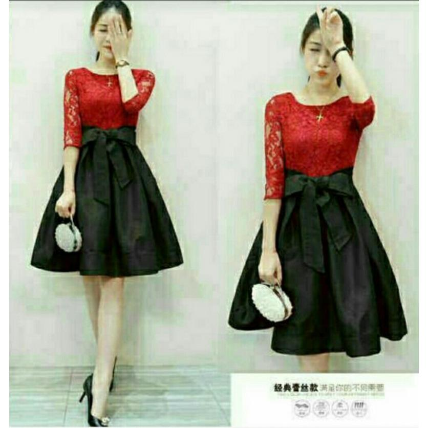 vanessa dress brukat / Dress Lengan Pendek / Gaun Baju Terusan Wanita / Dress Korea / Dress Brukat / Dress Midi  / dress selutut /  dress hongkong / dress simple