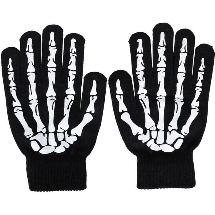 BEST SELLER!!! Sarung Tangan Touch Glove Skull Skeleton Design for Smartphone - Hitam - ano0p3