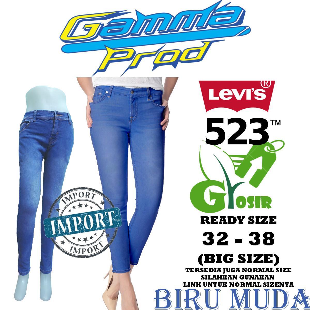 Celana Soft Jeans LEVIS 523 BIRU MUDA Skinny WANITA GROSIR BIG SIZE