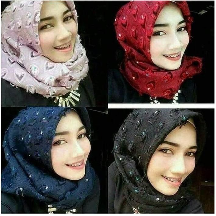 segi empat terlaris dan termurah hijab rubiah bawal bulu hati
