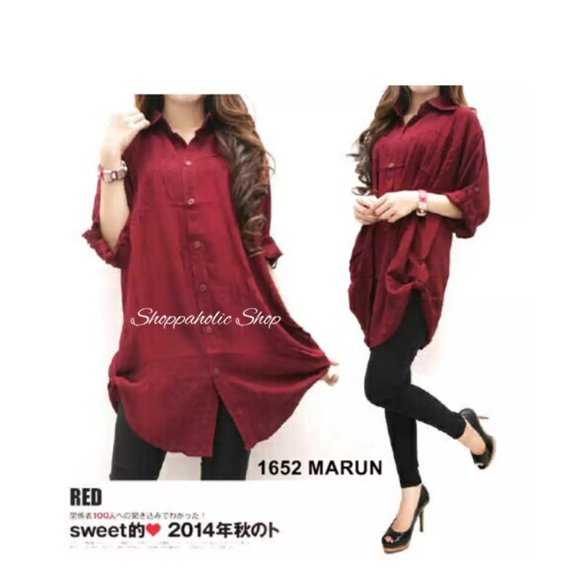 GA Fashion Kemeja Jumbo Polos Maroon Baju Wanita / Blouse Korea / Atasan Wanita / Baju Formal / Kemeja Wanita / Kemeja Formal / Atasan Muslim / Kemeja Cewek Tunik / Blouse Sabrina / Dress Muslim / Dress Cantik
