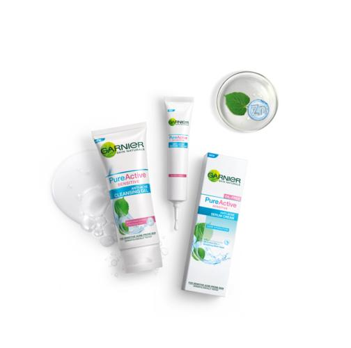 Paket Garnier Pure Active Sensitive Anti-Acne ( Cleansing Gel + Serum Cream ) - 2 pcs