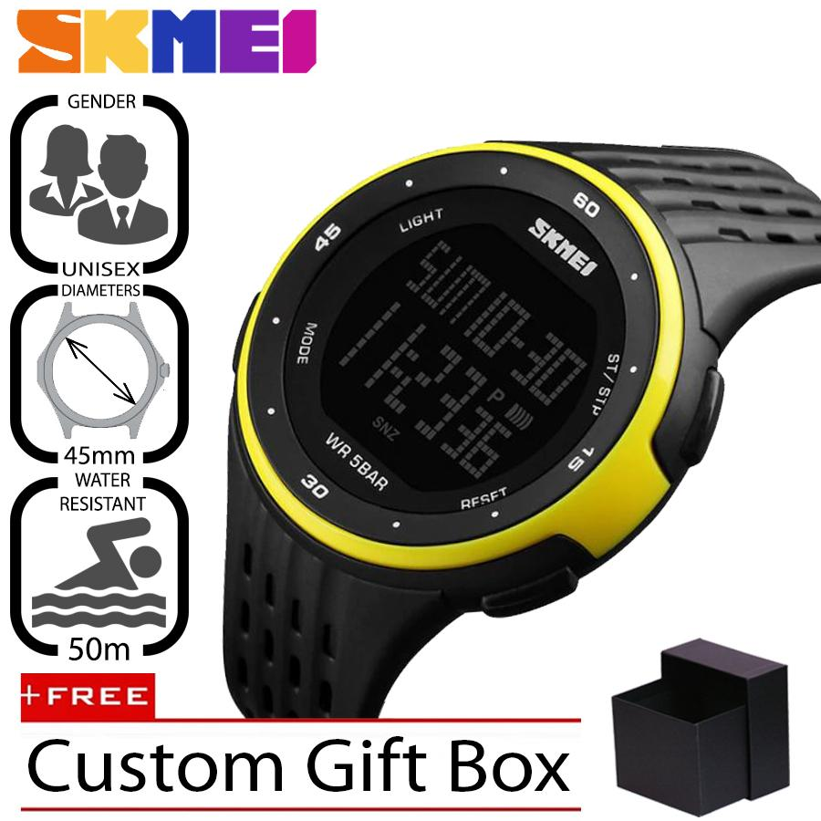 SKMEI Original 1219 Jam Tangan Pria - Wanita Casual Sport Digital LED Silikon PU 45 mm