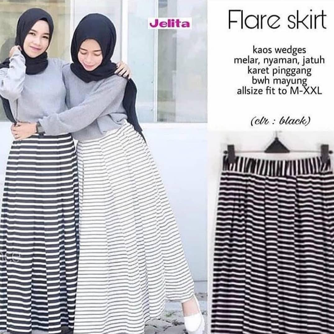 Buy Sell Cheapest Jersey Flare Skirt Best Quality Product Deals Midi 50cm Rok Wanita Rk100 Skirts