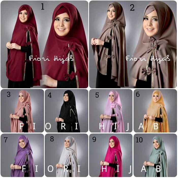 Khimar + Hijab + Kerudung Risty Swarovski Fiori Free Inner A1780