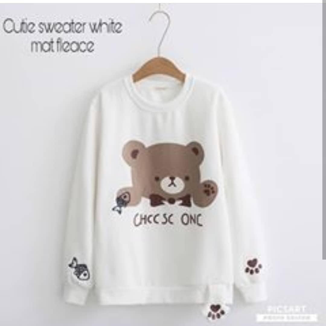 "Rp 80.000 Sweater&Jaket ""SF CUTIE"" Lucu Untuk Wanita Bahan Fleece Babyterry Kanvas Jeans Santai Murah Keren Trendy Fashionable 2018IDR80000"