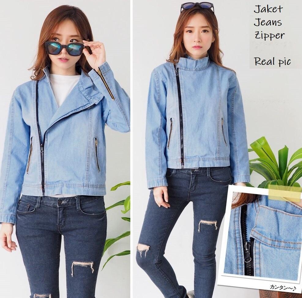 Jaket Jeans Wanita Aplikasi Resleting - Mango