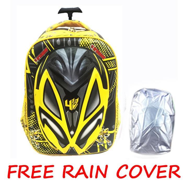 FREE RAIN COVER Tas Troley Sekolah Anak SD Transformer Bumblebee