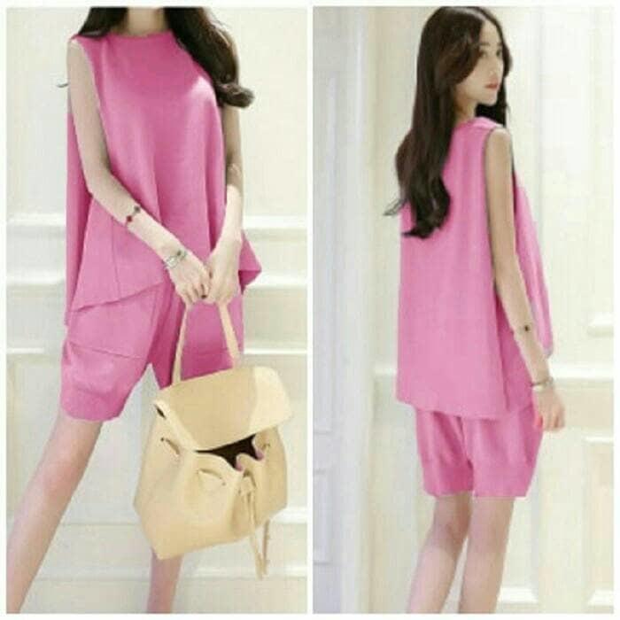 Setelan Wanita Blouse + Celana 2In1 Sweet Pink Mika Summer Ootd Style