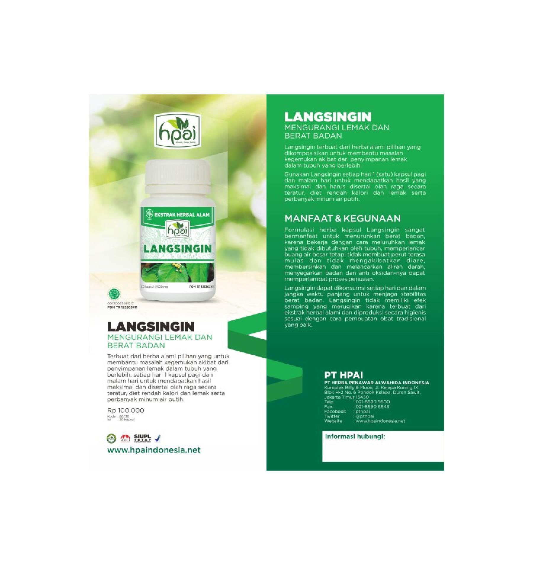 Buy Sell Cheapest Langsingin Herbal Pelangsing Best Quality Hni Hpai Diet Kegemukan Aman Sehat Bpom