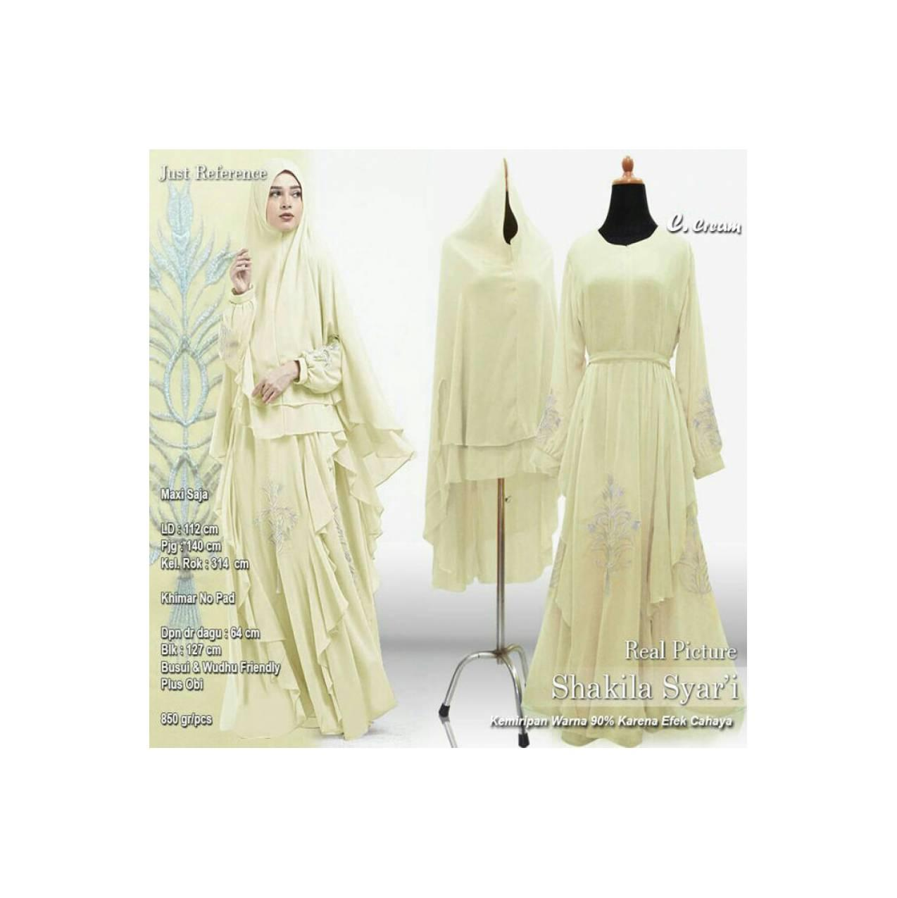 Baju Pengantin Muslimah 120163 GAMIS WANITA SHAKILA SYARI CREAM