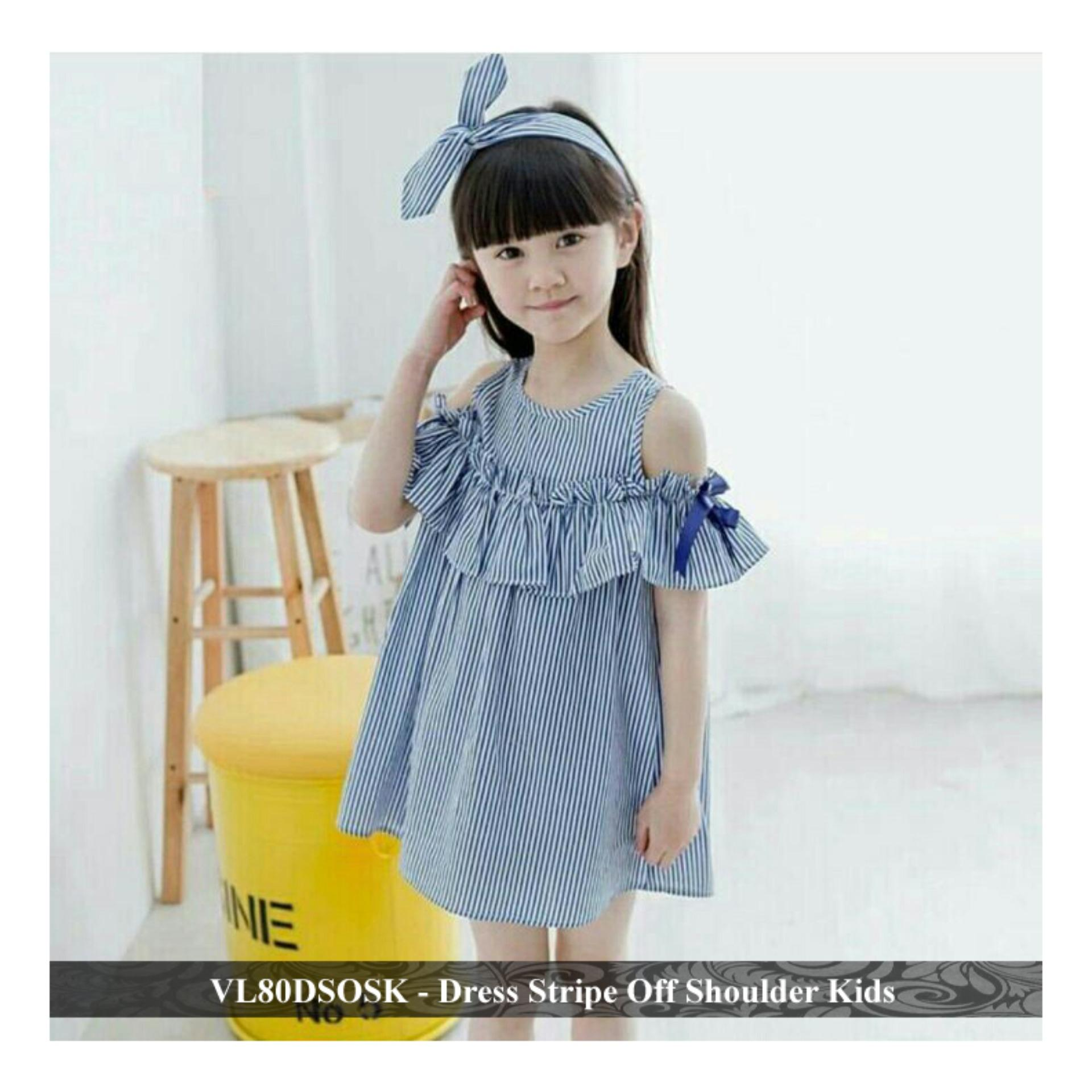 Dress Anak Terbaru - Gaun Simple Anak perempuan - VL80DSOSK - dress stripe off  fit 3-4 tahun
