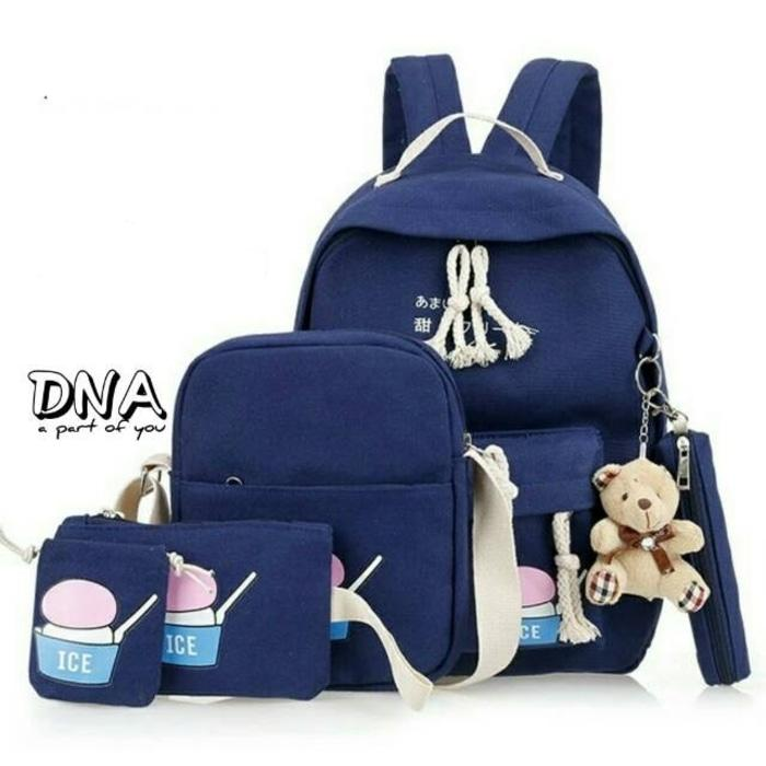 Tas Ransel Anak Backpack Sekolah SD Laki Perempuan 4in1 DNA Murah Navy