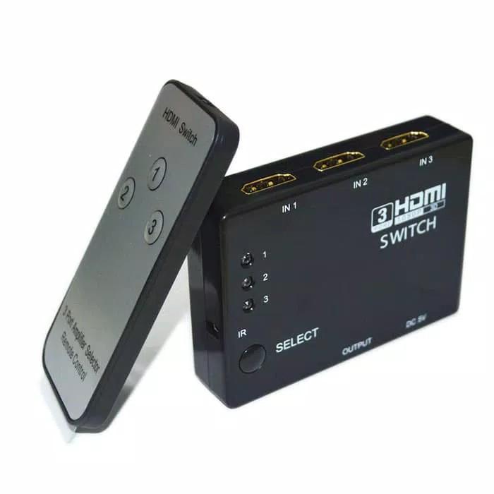 HDMI Switcher ORIGINAL switch dvd Ps playstation Tv televisi komputer laptop remote Multi fungsi serba guna universal UTS  spesifikasi: Input DDC Sinyal: 5 volt p-p (TTL) Video output: HDMI 1.3b Maksimum Tunggal link Range: 1920 * 1080p Vertikal Rentang F