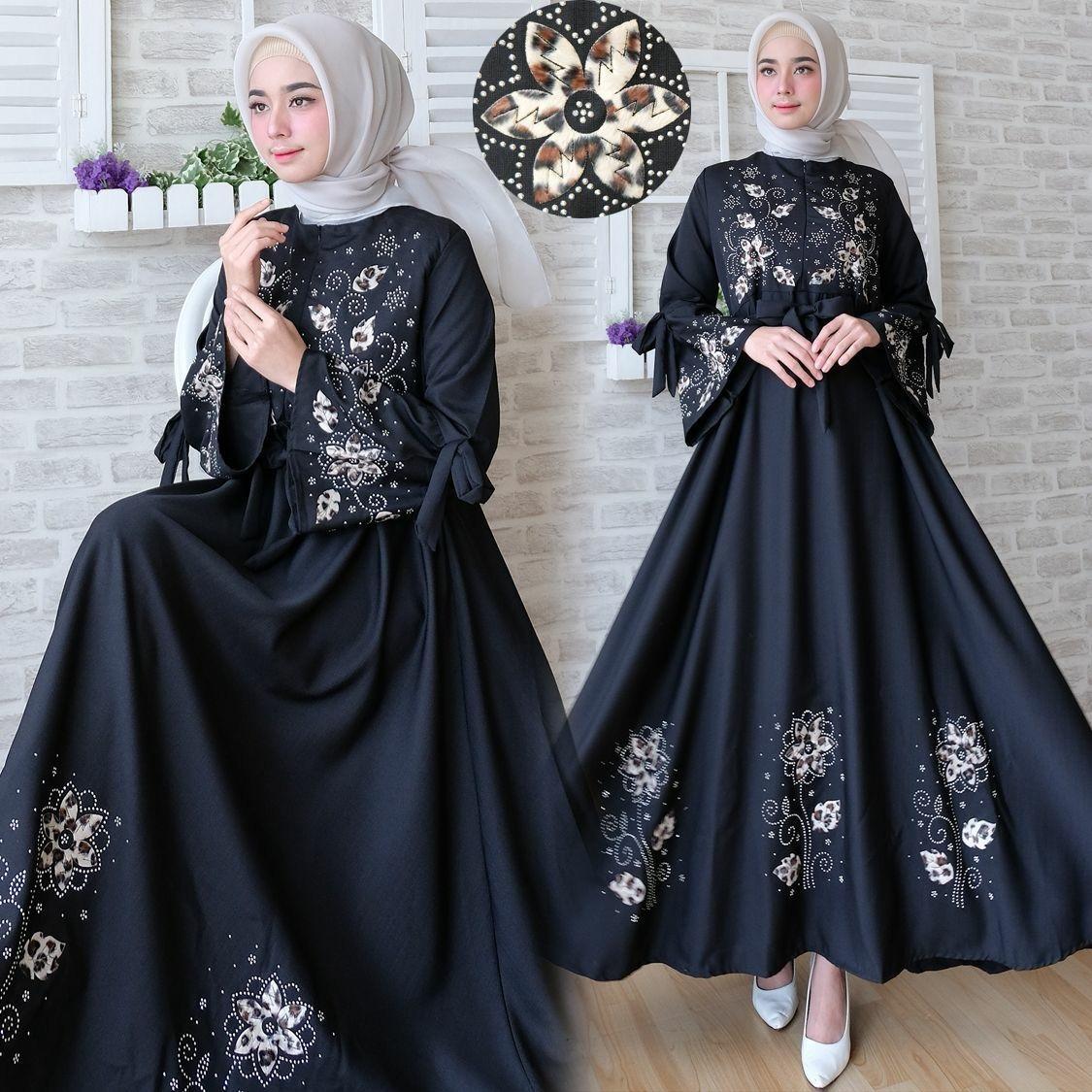 Maxi Dress Flower Syar'i - Real Pict Black