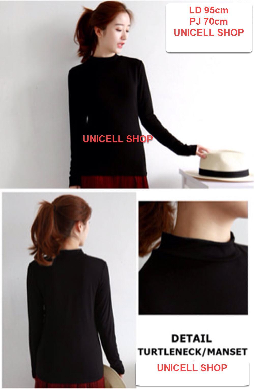 UC Baju Dalaman Maset Polos Kaos Wanita High Neck Lengan Panjang / Baju Wanita / Blouse Korea / Atasan Wanita / Kemeja Wanita / Kemeja Formal / Atasan Muslim / Manset Dalaman Cewek Tunik / Kaos Cewek / Turtle Neck / Baju Santai (Manset) XX - Hitam Putih