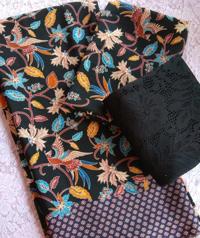 cherrykebaya - setelan kain satin COUPLE bali lembaran batik catur dan brokat lembaran bahan kebaya