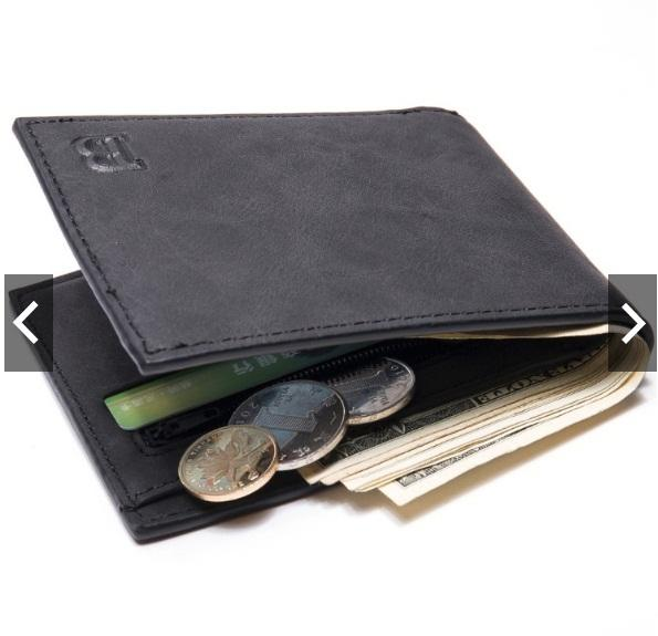 ... BABORRY Dompet Pria Impor Premium Kulit Mens Slim Wallet with Coin Zipper (READYSTOCK)(